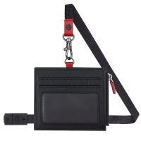 MONDAINE 瑞士國鐵牛皮4卡拉鏈安全釦證件套–十字紋黑
