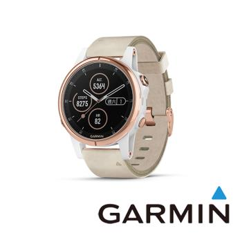 GARMIN fenix 5S Plus 進階複合式運動GPS腕錶(皮革錶帶)