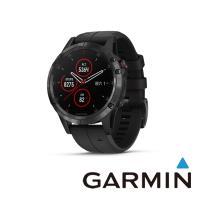 GARMIN fenix 5 Plus 多功能運動GPS腕表(ADLC石墨灰錶圈搭黑色矽膠錶帶)