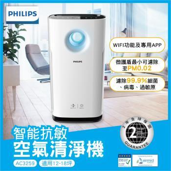 PHILIPS 飛利浦 8-15坪 能抗敏空氣清淨機(AC3259) 贈滴漏式不鏽鋼咖啡壺