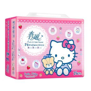 春風衛生紙-Kitty3層抽衛100抽x24包x3串