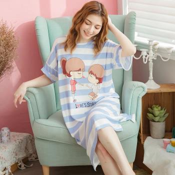 lingling日系 甜蜜情侶牛奶絲前短後長連身裙睡衣(共二色,全尺碼)