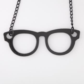 知性眼鏡造型個性黑色長項鍊