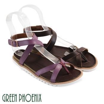 GREEN PHOENIX 交叉繞踝仿舊裝飾金屬魔鬼氈全真皮平底夾腳涼鞋U60-25613
