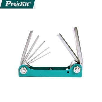 台灣製造Pro'sKit寶工摺疊型內六角扳手組1.5~6mm8(7支組)8PK-021N