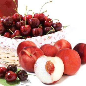 愛上水果 經典不敗櫻桃/水蜜桃禮盒組(西北櫻桃1.5kg+加州水蜜桃6顆)