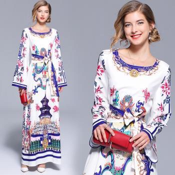 M2M-歐美文藝喇叭袖腰帶印花連身長裙M-2XL