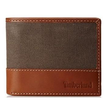 Timberland 2018男時尚木炭褐帆布皮革色塊雙折皮夾