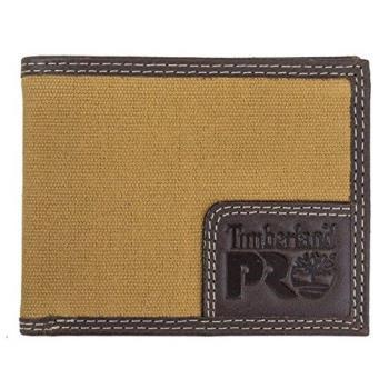 Timberland 2018男時尚 Pro黃褐色雙縫帆布皮革雙折皮夾