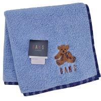 DAKS 經典格紋LOGO泰迪熊刺繡雙面用小方巾(藍色)