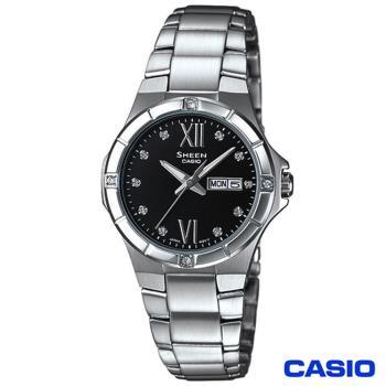 【CASIO】Sheen系列 溫柔特質計時 施華洛世奇水晶 女錶(SHE-4022D-1A)