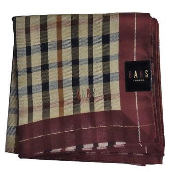 【DAKS】經典格紋刺繡帕領巾-酒紅色