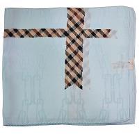 DAKS 經典格紋拚色大絲巾-水藍色