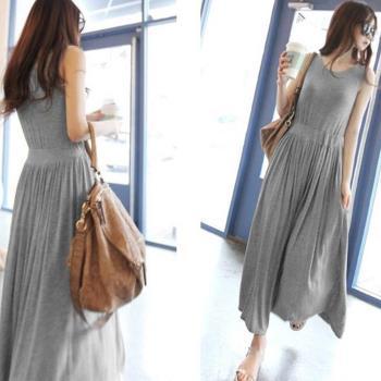 棉花甜 涼感莫代爾高腰素色連身長裙