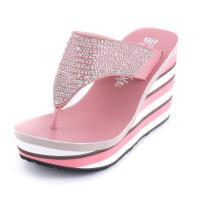 【88%】拖鞋-MIT台灣製 9.5cm楔型拖鞋 一字拖鞋 珠珠水鑽鞋面 橫條紋配色