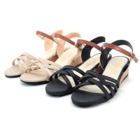 【 cher美鞋】MIT 小坡跟雙色細帶交叉優雅氣質涼鞋-黑色/米色-0780720464-89