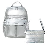花花班尼Hana Bene 極輕感大後背全開式14格層防潑水空氣包-2件組-時尚銀