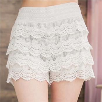 蕾絲多層次蛋糕式短褲裙A2637(共三色)lingling