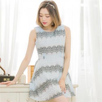 韓版扇型蕾絲紗背心洋裝A3393(共二色)lingling中大尺碼