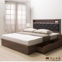 日本直人木業-WANDER胡桃木5尺2抽標準雙人床組