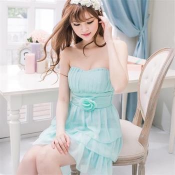 飾花桃心領蛋糕雪紡小禮服洋裝A2028(共二色)lingling