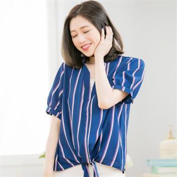 直條紋衣襬綁結假兩件上衣A3489-01(都會藍)lingling中大尺碼