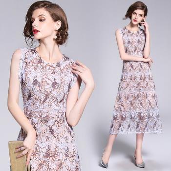 M2M-淡雅蕾絲鏤空花樣顯瘦無袖連身裙-S-XL