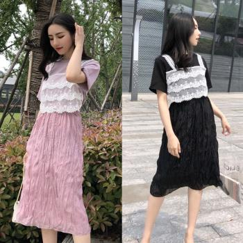 韓國KW  芙蓉如面蕾絲假兩件洋裝