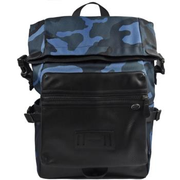 COACH 28318 經典LOGO迷彩尼龍皮飾邊折疊後背包.黑/藍