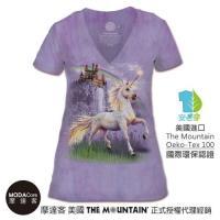 摩達客 (預購) 美國The Mountain都會系列 獨角獸城堡 V領藝術修身女版短袖T恤 個性時尚 輕透柔軟舒適高級混紡