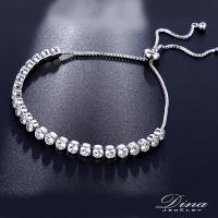 DINA JEWELRY蒂娜珠寶  排鑽包鑲 CZ鑽造型伸縮手鍊 (KS7365)