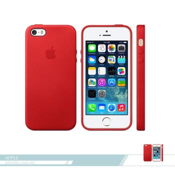APPLE蘋果 原廠iPhone 5/ 5S/ SE 專用 皮革護套-紅 /手機保護殼 /防護背蓋