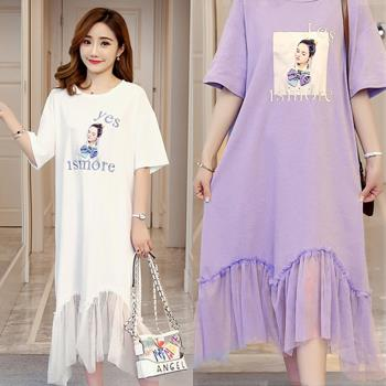 韓國K.W.  伶俐芙蓉寬鬆拼接網紗洋裝