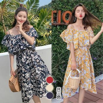韓國K.W.  活潑芙蓉V領洋裝