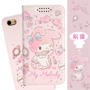 【美樂蒂】iPhone 6s / 6 (4.7吋) 甜心系列彩繪可站立皮套(粉撲款)