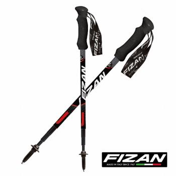 FIZAN 超輕四節式健行登山杖(2入) (黑色)