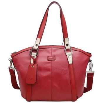 TOD'S New G-Bag特殊光面帆布手提/斜背船型包_紅