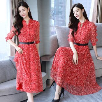 韓國K.W. 典雅芙蓉雪紡長洋裝