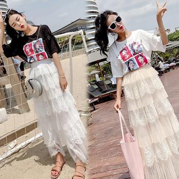 韓國KW  嬌柔芙蓉蕾絲裙印花上衣套裝