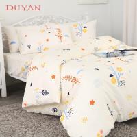DUYAN竹漾- 台灣製100%精梳純棉雙人加大四件式舖棉兩用被床包組- 四季花香