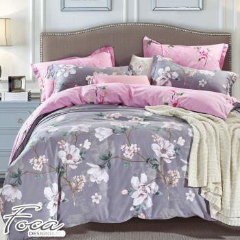 FOCA-艾米花園 加大-100%精梳棉四件式鋪棉兩用被床包組