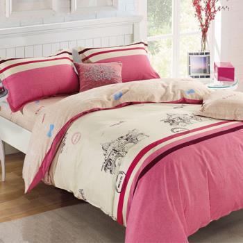 FOCA-羅浮宮 加大-100%精梳棉四件式鋪棉兩用被床包組