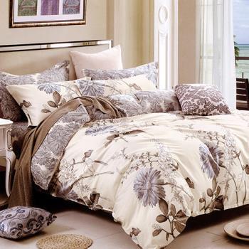 FOCA-似景秋憶  雙人100%精梳棉四件式鋪棉兩用被床包組