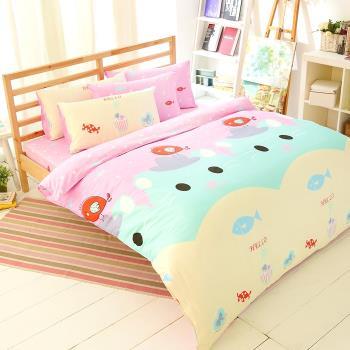 FOCA- 貓咪寶貝 加大100%精梳棉四件式鋪棉兩用被床包組