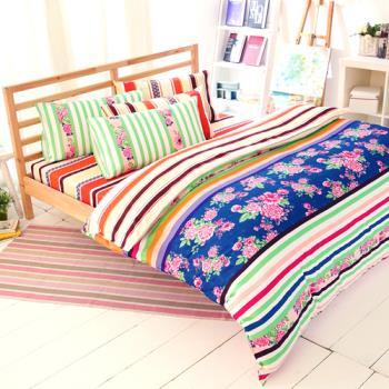 FOCA- 似水年華 雙人100%精梳棉四件式鋪棉兩用被床包組