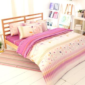 FOCA-情詩 加大100%精梳棉四件式鋪棉兩用被床包組