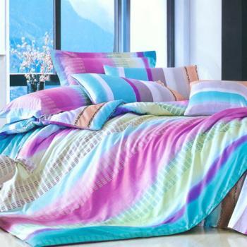 FOCA 彩虹旋律 加大100%精梳棉四件式鋪棉兩用被床包組