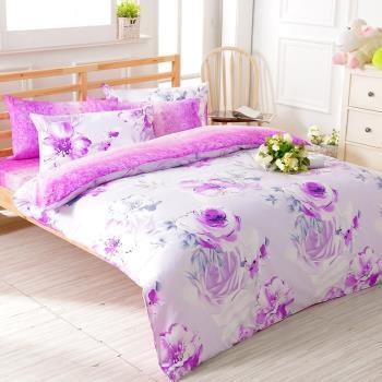 FOCA天姿國色 加大100%精梳棉四件式鋪棉兩用被床包組