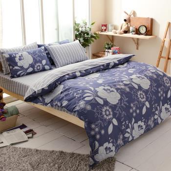 FOCA藝術家園 加大 100%精梳棉四件式鋪棉兩用被床包組