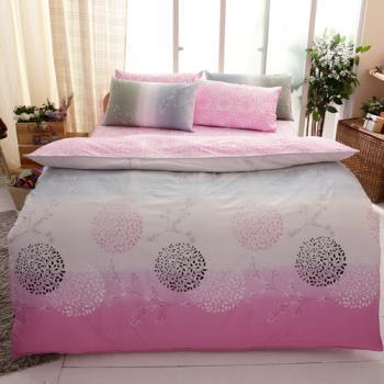 FOCA-愛情海粉 加大 100%精梳棉四件式鋪棉兩用被床包組